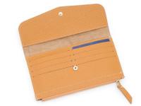Moderná dámska peňaženka s vreckom na drobné, eko kože, okrová