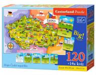 Puzzle Mapa Českej republiky 120 dielikov + 14 kvízov náučné 40x28cm