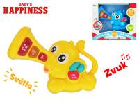 Slon 23x15 cm na batérie so svetlom a zvukom Baby \ 's Happiness - mix farieb