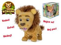 Kokum lvíček plyšový 26 cm na baterie reagující na české povely