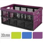 přepravka skládací 48x35x24cm plastová, nosnost 10kg - mix barev