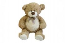 Medvěd s mašlí velký plyš 80cm béžový kudrnatý