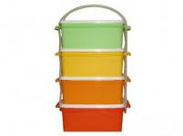 obedár 4x1,2l hranatý 17x15x25cm plastový - mix farieb
