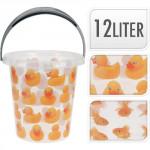 vedro 12l s výlevkou plastové, dekor kačička, RYBY - mix variantov či farieb