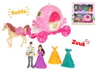 Kočiar s koňom 29 cm s princeznou a princom 10 cm na batérie so svetlom a zvukom s doplnkami