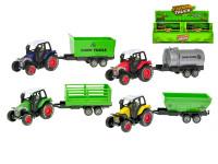 Traktor s vlečkou 17,5 cm kov spätný chod - mix variantov či farieb