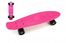Skateboard - pennyboard 60cm nosnosť 90kg, kovové osi, ružová farba, čierna kolesá