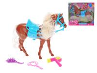 Kôň hnedý 24 cm so sedlom a doplnkami