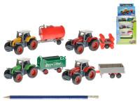 Traktor s vlečkou 14 cm kov volný chod - mix barev