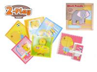 Kocky drevené 2-Play 9 ks 13x13x5 cm so zvieratkami - mix variantov či farieb