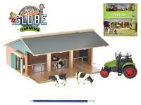 Farma dřevěná 1:50 + traktor kov na baterie se světlem a zvukem a kravičky 3 ks