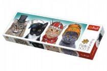 Puzzle mačky s čiapkami panoráma 500 dielikov 66x23,7cm
