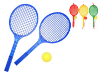 Soft tenis set - 2 ks tenisové rakety + 1 ks míček - mix barev