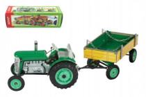 Traktor Zetor s prívesom zelený na kľúčik kov 28cm Kovap