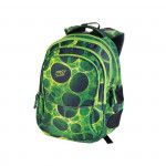 Easy flow 920755 Batoh školní tříkomorový zeleno-černé kolečka, profilovaná záda, 26 l