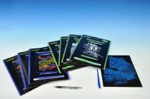 Škrabacie obrázok strieborný / dúhový 19x24cm - mix variantov či farieb