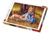 Puzzle Dievčatko s mačkou maľované 500 dielikov 48x34cm