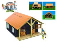 Stajňa pre kone s dielňou drevená 51x40,5x27,5 cm 1:24