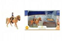 Sada kůň + žokej s doplňky farma plast - VÝPREDAJ
