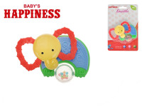 Kousátko slon s chrastítkem 11 cm Baby´s Happiness
