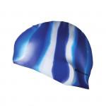 Spokey Abstract plavecká čiapka silikónová modro-biele pruhy