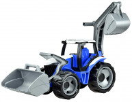 Traktor s lyžicou a bagrom plast modro-šedý 65cm