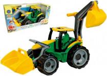 Traktor se lžící a bagrem plast zeleno-žlutý 65cm