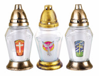 Lampa hřbitovní VITRÁŽ skleněná 50g d8x19cm