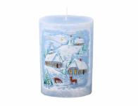 Sviečka ZIMA OVÁL vianočné d10x14cm