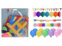 dekorácie PÁRTY sada 14díl. (3 + 1x girlanda, 10x balónik)