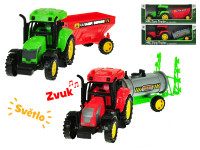 Traktor s vlečkou 27 cm na zotrvačník na batérie so svetlom a zvukom - mix variantov či farieb