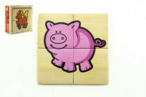 Puzzle 4ks pro nejmenší dřevo Moje první zvířátka MPZ v dřevěné krabičce