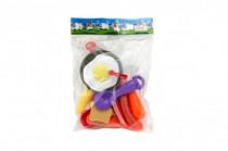 Pánev s nádobím a doplňky plast 16ks - mix barev