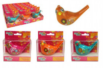 Píšťalka vodné vtáčik so šnúrkou plast 10cm - mix farieb