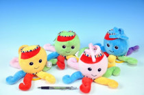 Chobotnice natahovací hrající strojek plyš 30cm - mix barev