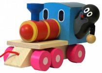 Krtek a mašinka/vlak dřevo 12cm tahací