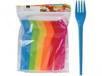 vidlička plastová (48ks) jednorazová - mix farieb