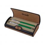 Guriatti GIANNA Set plnicí a kuličkové pero zeleno - stříbrné