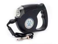 Vodítko lankové samonavíjecí s LED světlem pro malé a střední psy černé, Domestico