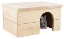 Domček drevo králik rovná strecha 24 x 18 x 13 cm