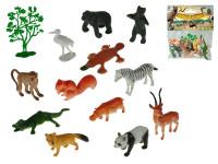 Zvieratká safari 4-8 cm + stromček 13 ks - mix variantov či farieb