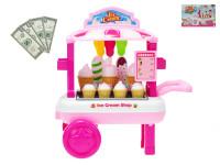 Vozík zmrzlinový pojazdný 23x33x20 cm s doplnkami
