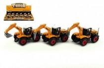Traktor stavebné kov / plast 15cm na spätné natiahnutie - mix variantov či farieb