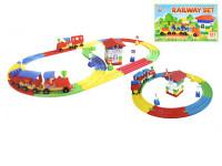 Kostky stavební železniční stanice 52x31x8 cm s vláčkem