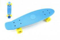 Skateboard - pennyboard 60cm nosnosť 90kg, kovové osi, modrá farba, žltá kola
