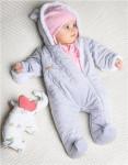 Zimný dojčenský overal Nicol Kids Winter šedý - 62 (3-6m) - VÝPREDAJ