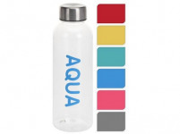 fľaša na pitie 500ml AQUA plastová, kov. viečko - mix farieb