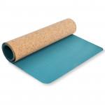 Spokey Savasana jóga podložka na cvičenie korková, tyrkys 3 mm