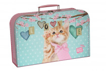 Kufrík Mačička Ginger ružovo / zelený 35 cm