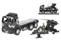 Auto nákladní vojenské 30 cm na setrvačník s helikoptérou a vojákem